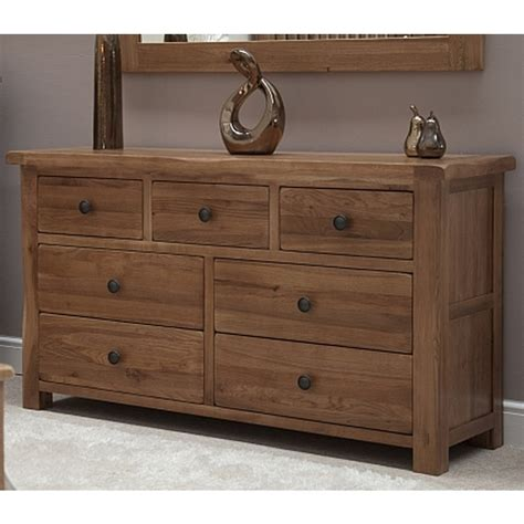 Rustic Oak Bedroom Furniture Denver Large Wide Chest Of Drawers Solid Rustic Oak Bedroom Furniture Ebay