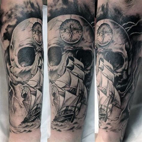 massive tattoo black and white nautical with skull and