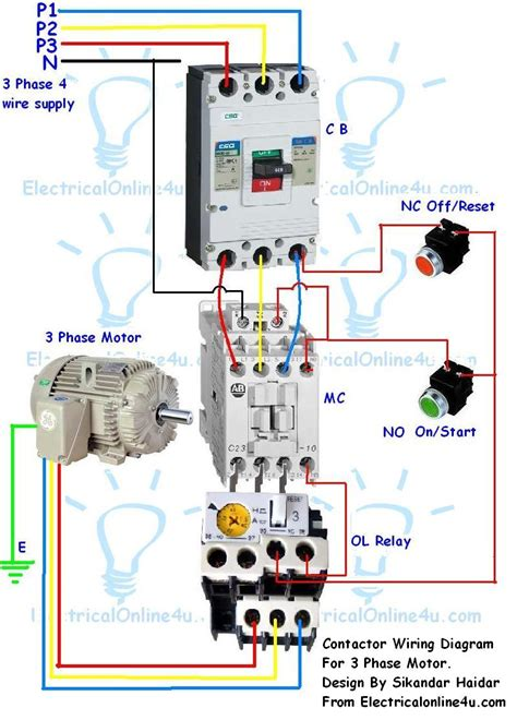 contactor wiring diagram contactor wiring guide for 3 phase motor with circuit