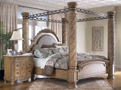 White Bedroom Set King black wooden canopy bed with head and foot board connected