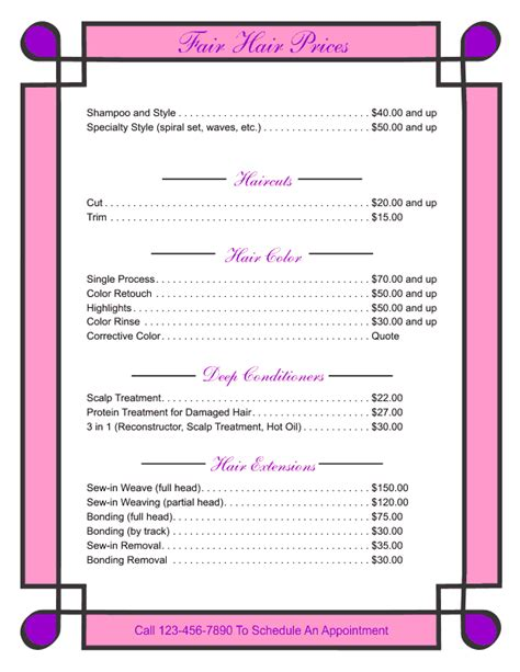 price list template price list templates