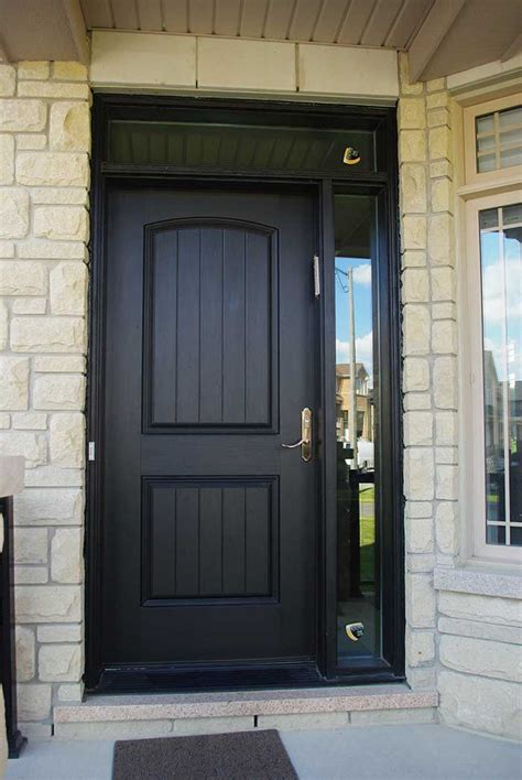 Single Glass Exterior Door Entry Executive Fiberglass Single Solid Front Door With Rustic And Side Light Ransom Installed