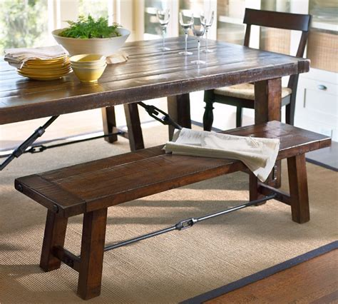 tables with benches for kitchens pottery barn benchwright dining table and benchwright