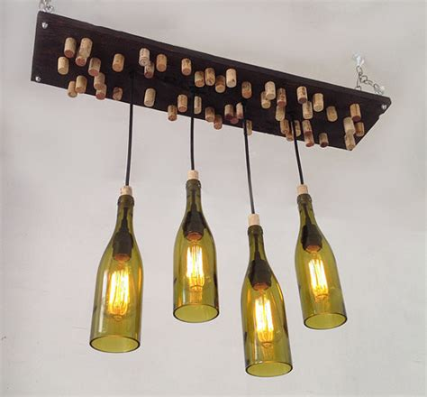 Recycled Wine Bottle Chandelier Recycled Wine Bottle Chandelier With Corks And Edison Bulbs Rustic Chandeliers Orange