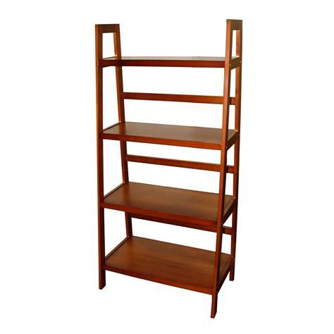 ore international four tier ladder shelf in walnut finish