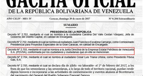 ultima hora gaceta oficial publica modificaciones de la en gaceta oficial nueva directiva de pdvsa