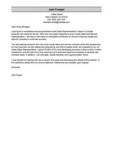 Cover Letter Inside Sales by Leading Professional Inside Sales Cover Letter Exles