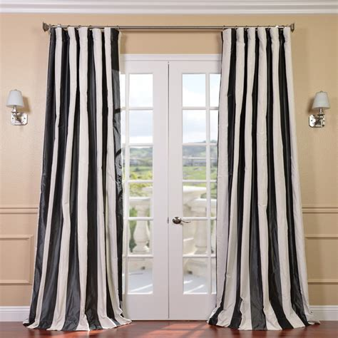 overstock curtain panels signature stripe black white faux silk taffeta curtain