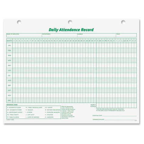 daily attendance record template employee attendance record doc breeds picture