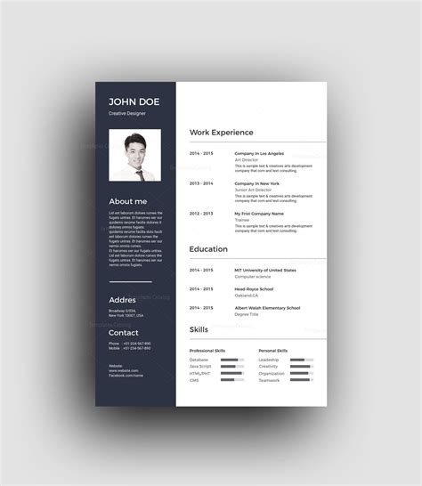 Classic 2 Resume Template by Psd Classic Professional Resume Template 001461 Template