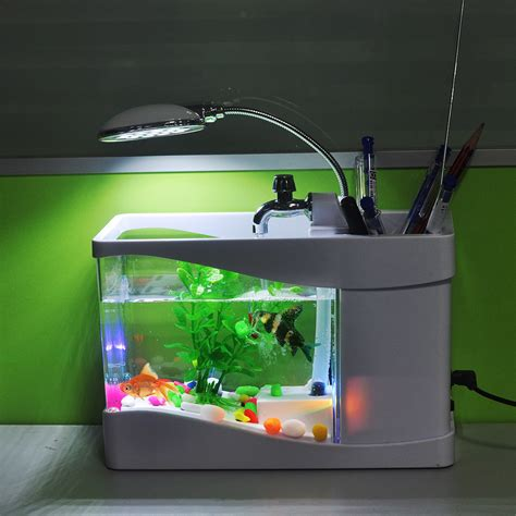 new arrival usb fish tank aquarium with led light desktop
