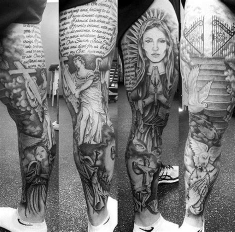 religious leg tattoos for men 50 heaven tattoos for higher place design ideas