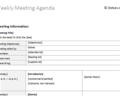 weekly meeting agenda template weekly meeting calendar calendar template 2016