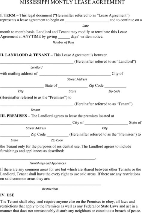 free mississippi residential lease agreement form pdf download mississippi rental agreement for free formtemplate