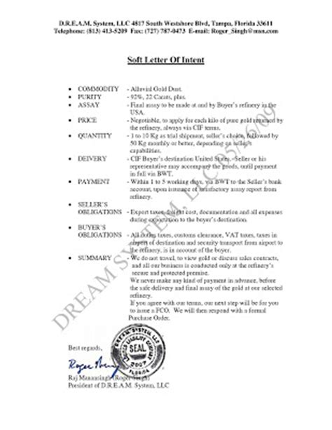 Letter Of Intent Sle Gold Make Money Selling Gold Soft Letter Of Intent Loi For Gold
