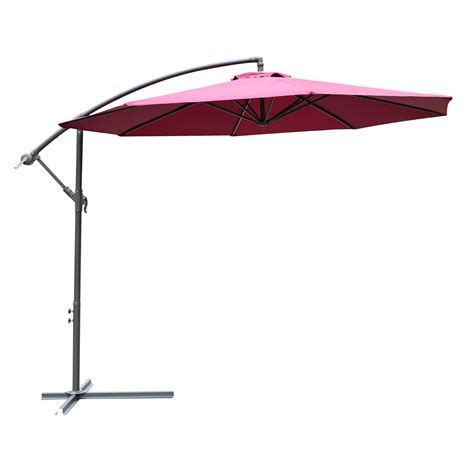 Offset Patio Umbrellas Clearance Outsunny 10 Steel Hanging Offset Patio Umbrella With Stand Wine Clearance