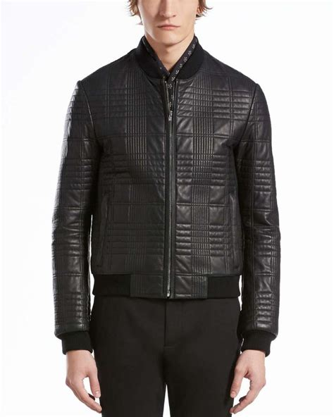 Mens Leather Quilted Bomber Jacket by Quilted Leather Bomber Jacket Black