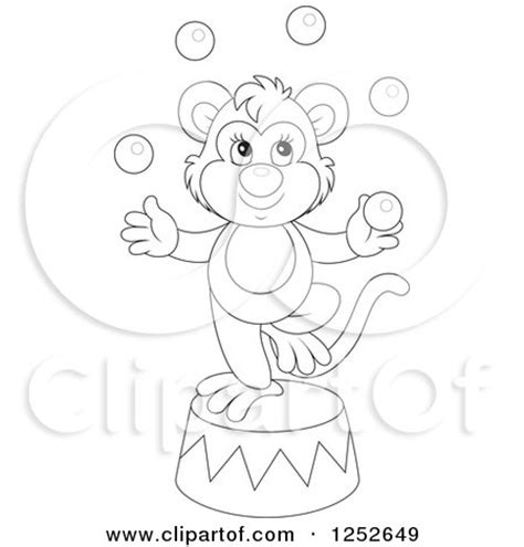 circus monkey coloring page clipart of a talented monkey juggling balls on a podium