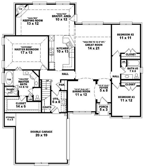 ranch style house plan 3 beds 2 baths 1700 sq ft plan house plan split floor plans ranch with bedrooms ideas
