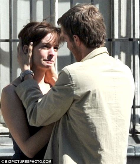 one day romantic film anne hathaway and jim sturgess lock lips on set of rom com
