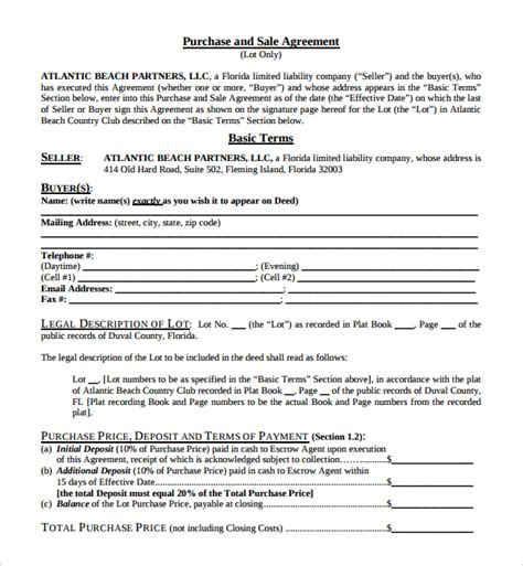simple purchase agreement template sle purchase and sale agreement 9 free documents