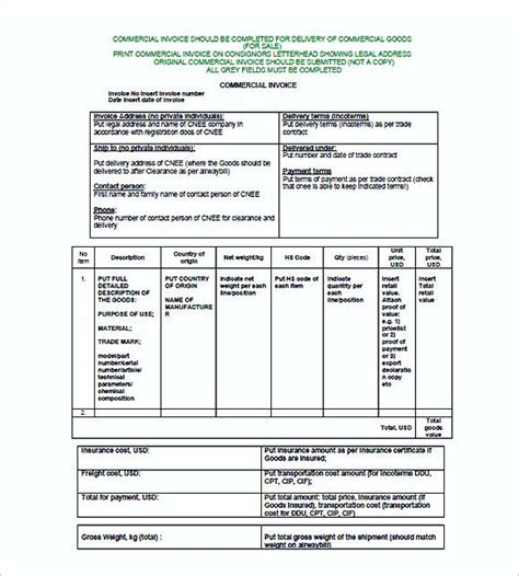 sle commercial invoice commercial invoice format commercial invoice template
