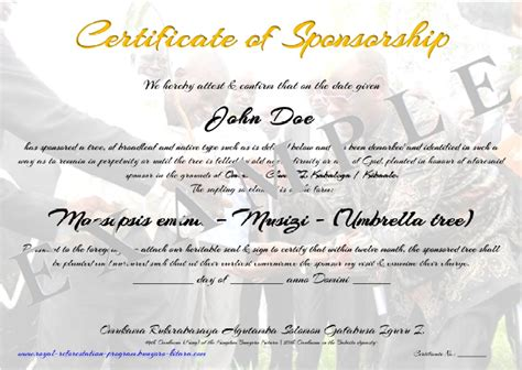 sponsorship certificate template sponsor certificate template types of tree sponsorships