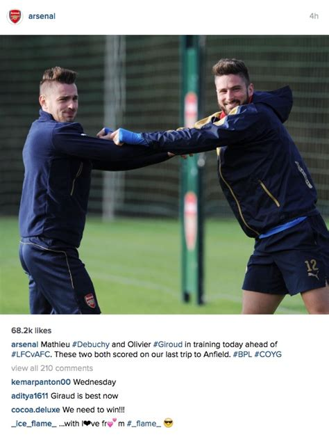 arsenal instagram photo arsenal striker won t let go of teammate who is
