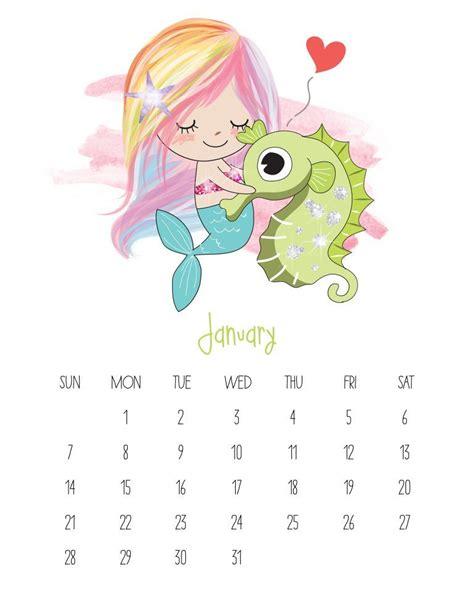 printable calendar kawaii free printable 2018 kawaii mermaid calendar free