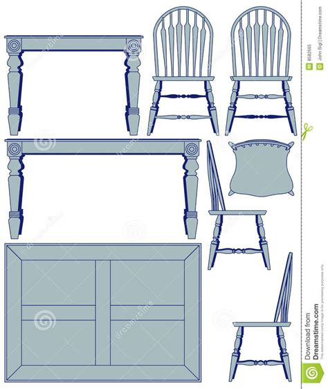 dining furniture blueprint royalty free stock photo