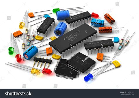 resistors transistors capacitors of various electronic components microprocessors logical digital microchips transistors