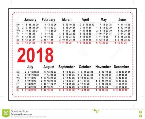 grid pocket calendar 2018 stock vector illustration of