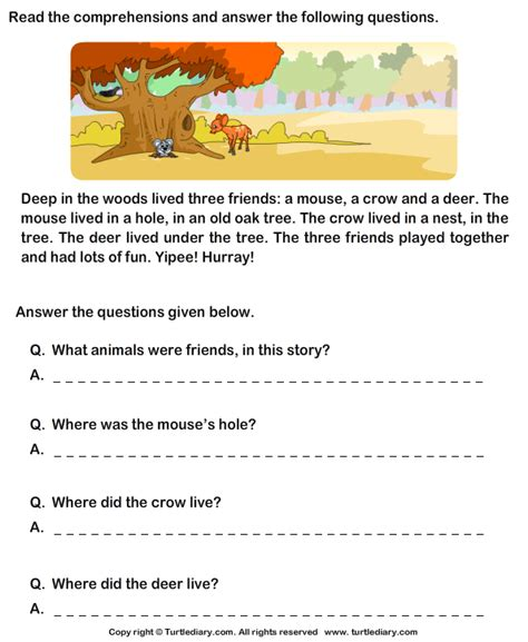 reading comprehension mouse and deer worksheet