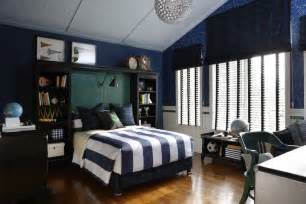 blue and white striped boys room with silver accents interior design ideas