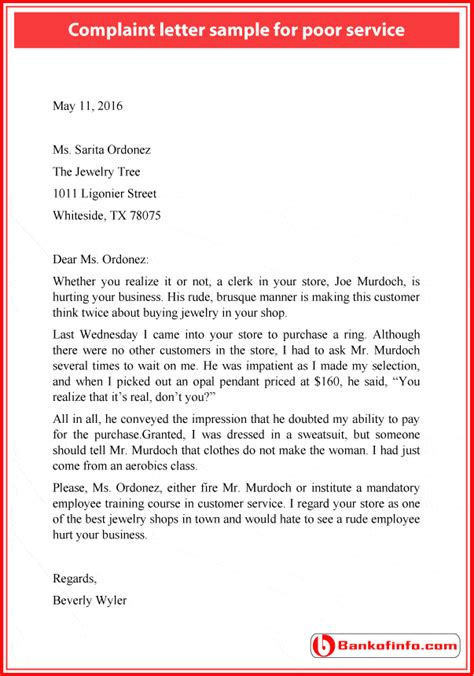 Complaint Letter For Poor Service Of Bank Best Solutions Of Sle Complaint Letter To Bank For Poor Service For Sle