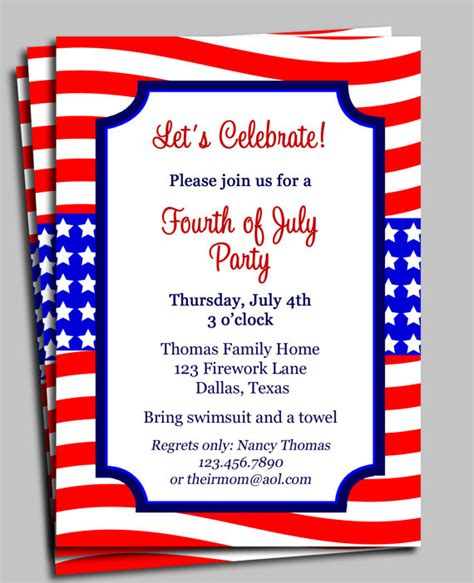 4th of july invitation templates best photos of 4th birthday invitation wording sles 3
