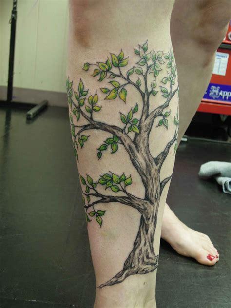 calf tattoo family tree leg tree fine art tattoos by molly rose
