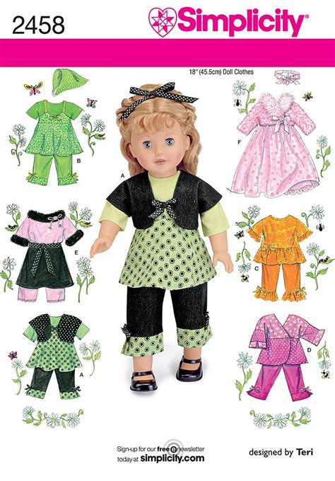 pattern matching clothes simplicity 2458 18 quot doll clothes sewing patterns mix