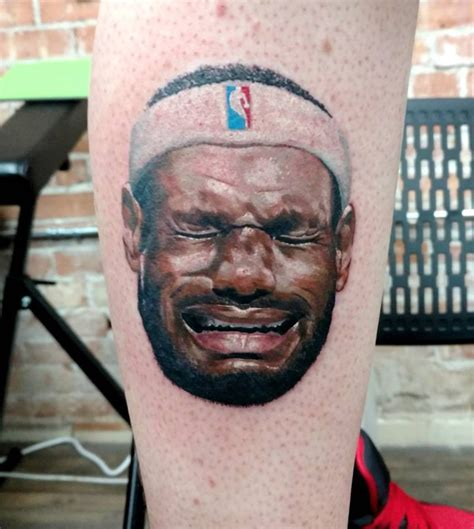 lebron tattoo history fan gets crying lebron tattooed on leg while donning