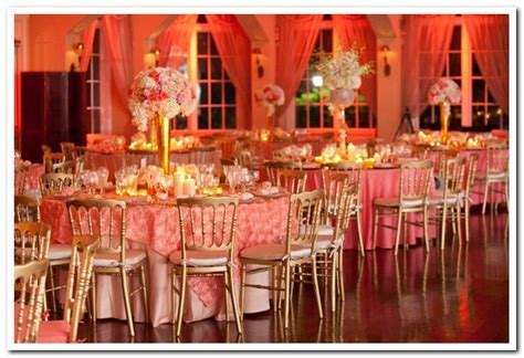 Beautiful Coral Rosette Satin Overlays   Coral Wedding