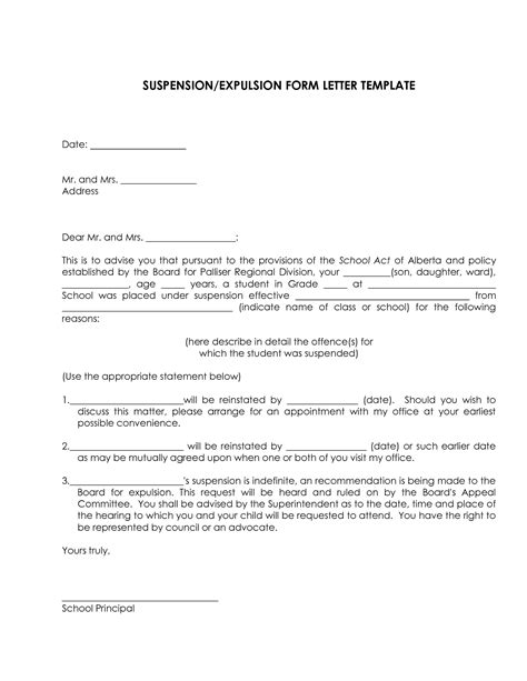 Service Suspension Letter Related Keywords Suggestions For Expulsion Letter