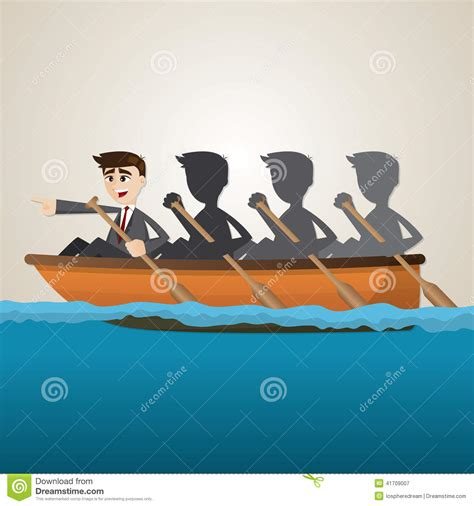 cartoon rowing boat management cartoon business team rowing on sea stock vector image