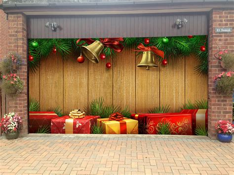 merry christmas garage door covers  banners holiday tree decorations outdoor billboard murals