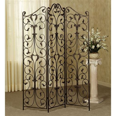 wrought iron room divider 3 panel antique wrought iron ornate with black finish room divider architectural features