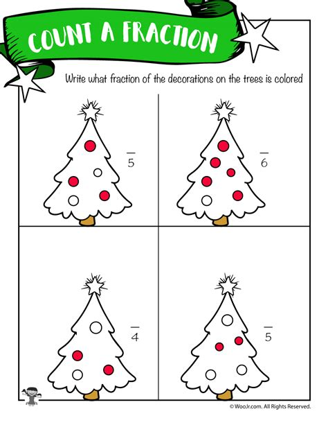 deduce the fraction worksheet with christmas trees woo