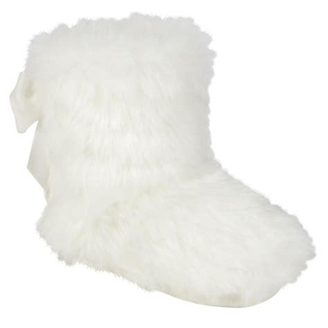 white fluffy slipper boots wonderkids baby s aspen faux fur boot slipper white