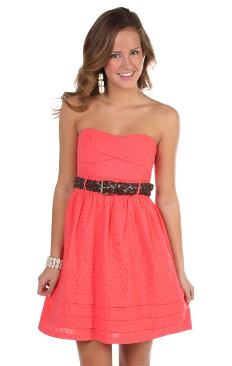Dress Cassual deb shops coral all embroidered eyelet strapless