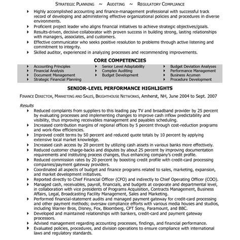 finance manager resume resume exle financial