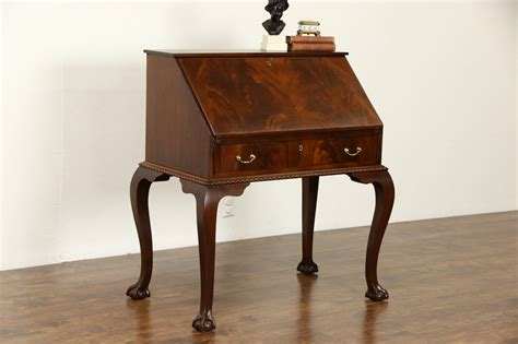 antique secretary desk with sold georgian chippendale 1940 s vintage flame mahogany