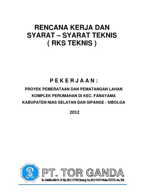 dokumen penawaran dan rks timbunan nias sibolga